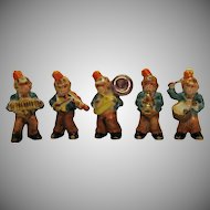 Vintage 5 Piece Ceramic Monkey Band 1930s Wearing Masonic Shriners Fez hats Good Condition