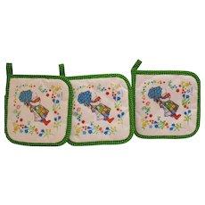 Vintage Three Hollie Hobbie Hot pads 1970s Good Condition