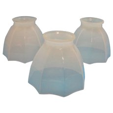 Vintage 3 Glass Chandelier Shades Pearl Color 1920-30s Octagon Shape