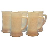 Five Vintage Federal Milk Glass Beer Steins 1950-60s Good Condition