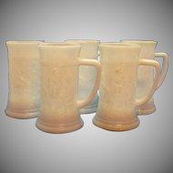 Five Vintage Federal Milk Glass Beer Steins 1950-60s Good Condition