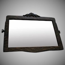 Vintage Oak Mirror Early 1900s Beveled Edges Good Condition