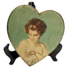 RARE Vintage Harrison S Fisher Litho on Heart Shaped Candy Tin 'A Wedding Pledge' 1920-30s Good Vintage Condition