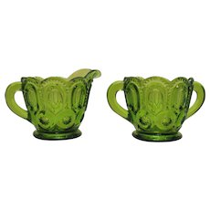 Vintage L.E. Smith Green Glass Sugar & Creamer with Moon & Stars Pattern 1960s Good Condition