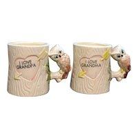Vintage Grandma & Grampa Ceramic Cups Owl Handles 1970s Good Condition