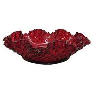 Vintage Fenton Ruby Red Hobnail Large Bon Bon Bowl 1972-85 Good Condition
