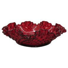 Vintage Fenton Ruby Red Hobnail Large Bon Bon Bowl 1972-85 Good Condition