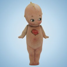 Vintage Rose O'Neill 5 ½ inch Kewpie Doll Straight Legs Jointed Arms Shield Sticker Circle Sticker on Back O'Neill incised on the foot Good Condition