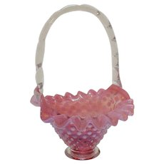 Fenton Cranberry Opalescent Hobnail Basket 1940-77 Good Condition