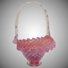 Fenton Cranberry Opalescent Hobnail Basket 1940-77 Good Condition