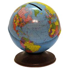 Vintage Metal Globe Bank Ohio Art 1960s Good Vintage Condition