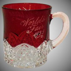 Vintage Chicago World's Fair Ruby Flashed Cup 1933 Good Condition