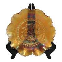Vintage Diamond Glass Marigold Carnival Glass Bowl Windflower Design 1914-31 Good Condition