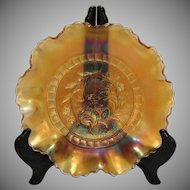 Vintage Diamond Glass Marigold Carnival Glass Bowl Windflower Design 1914-31 Good Condition