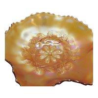 Vintage Diamond Glass Co. Marigold Carnival Glass Bowl Cosmos Variant Design 1914-31 Good Condition