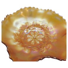 Vintage Diamond Glass Co. Marigold Carnival Glass Bowl Cosmos Variant Design 1914-31 Good Condition