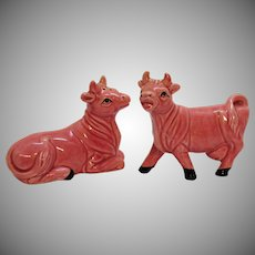 Vintage Pink Cows S&P Shakers 1960s Good Vintage Condition