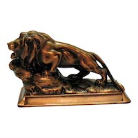 Vintage Cast Metal Lion's Club International Paperweight 1960-70s Good Condition