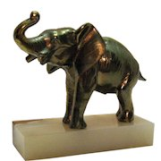 Vintage Brass Elephant with Marble/Onyx Base Paperweight 1940-50s Good Condition
