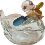 Vintage Glass Duck Sugar/Nut/Mints Bowl 1940-50s Vintage Condition