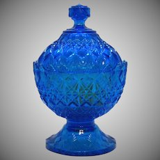 Vintage Fenton Blue Candy Box Marked OVG 1960-70s Fine Cut Pattern Good Condition