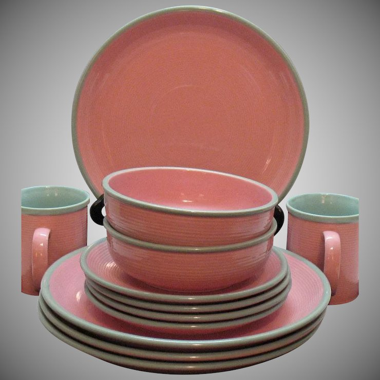 Vintage Stoneware Dishes by Ranmaru in Pomona Pink 1960s Like new Condition : pink stoneware dinnerware - Pezcame.Com