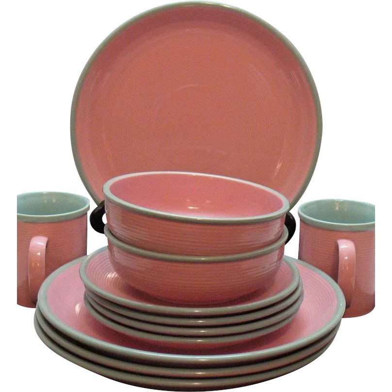 Vintage Stoneware Dishes by Ranmaru in Pomona Pink 1960s Like new ...