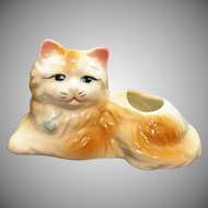 Vintage Royal Copley Resting Cat Planter 1939-60 Good Condition