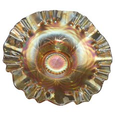 Vintage Fenton Cut Arcs Pattern Carnival Glass Bowl Marigold with Iridescence 1920-30s Good Condition