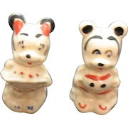 Vintage Minnie & Mickey Mouse Ceramic S&P Shakers 1940-50s Vintage Condition