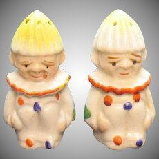 Vintage Clown S&P Shakers Ceramic Juice Reamer Heads 1930s Good Condition