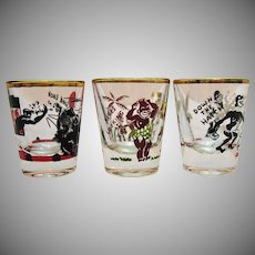 Three Vintage Black Americana Shot glasses 1950s Good Vintage Condition