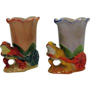 Vintage Pair Ceramic Frog Planter 1930s Good Condition