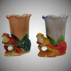 Vintage Pair Ceramic Frog Planter 1930s Good Condition