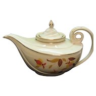 Vintage Hall China 7 Cup Aladdin Teapot with Tea Strainer Autumn Leaf Motif 1942-1976 Good Condition