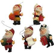 Vintage 5 Little Santa Elf Helpers Christmas Ornaments 1950s Good Vintage Condition