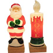 Vintage Lighted Plastic Santa & Candle 1995 Hard Plastic Work/Good Condition