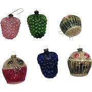 Six Vintage Glass Christmas Ornaments 1930-40s Japan Berries & Baskets Vintage Condition