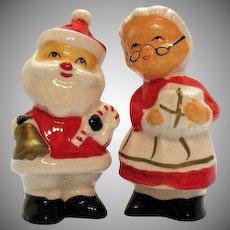 Vintage Ceramic Santa & Mrs. Santa Claus S&P Shakers 1960-70s Good Condition