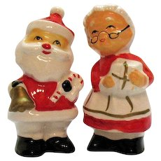 Vintage Ceramic Santa & Mrs. Santa Claus S&P Shakers 1960-70s Good Condition