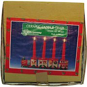 Vintage Ceramic Christmas Candle Train 1970s Original Box Good Condition