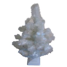 Vintage White Christmas tree Rayon Fine Fiber to Imitate Feather tree 1950s Original Box Good Condition
