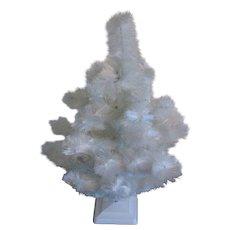 Vintage White Christmas tree Rayon Fine Fiber to Imitate Feather tree 1950s Original Box Good Condition