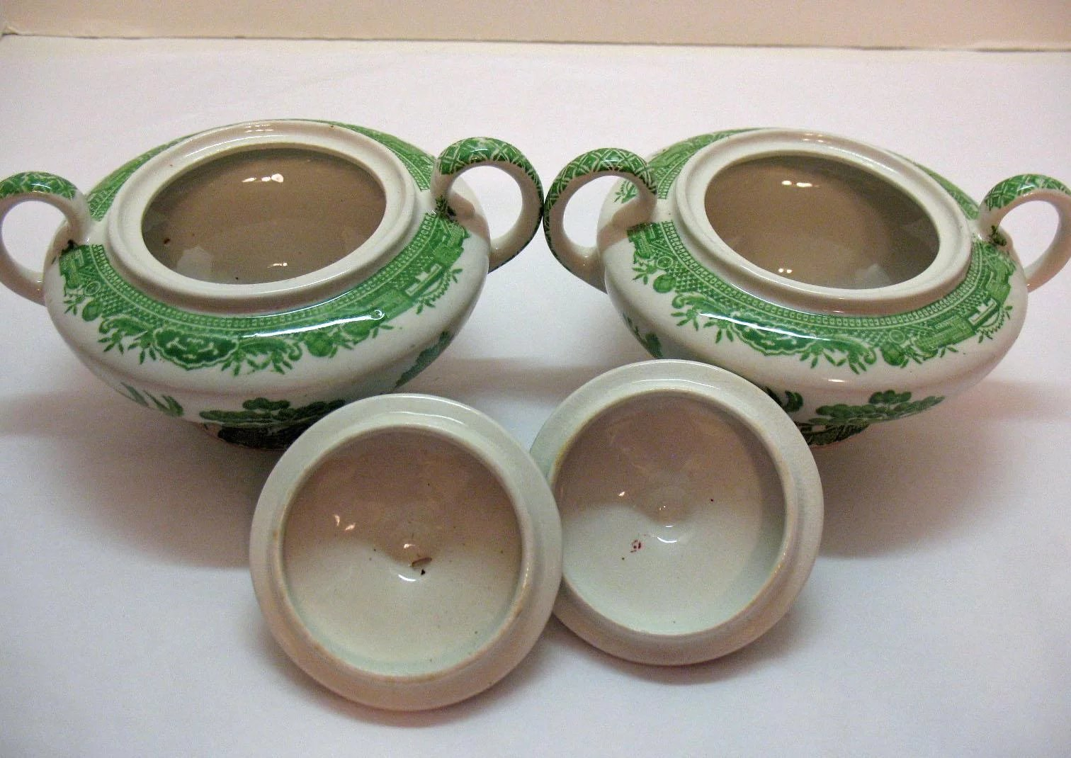 Click to expand & Two Green Willow Transferware Sugar Bowls by John Steventon u0026 Sons ...