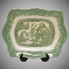 Vintage Green Willow Transferware Platter John Steventon & Sons Ltd Made in England 1923-36
