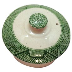 Vintage Green Willow Transferware Pattern on Teapot Lid by John Steventon & Sons Ltd 1923-36 Vintage Condition
