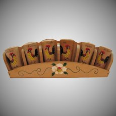 Vintage Wood Spice Rack Rooster Motif 1950s Good Condition
