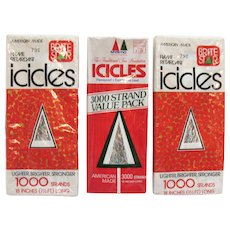 Three Vintage Unopened Packages Flame Retardant Icicles Strands 1970s like New