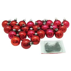 Vintage 24 Solid Red Christmas tree Ornaments 1 ¾ inches 1950s Plus Metal Hangers