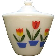 Vintage Anchor Hocking Fire King Grease Bowl with Lid Tulip Motif 1950-60s Good Condition